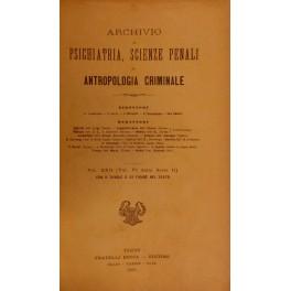 Archivio di Psichiatria, Scienze penali, ed Antropologia criminale